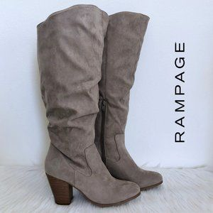 RAMPAGE tan suede heeled knee high boots size 8.5